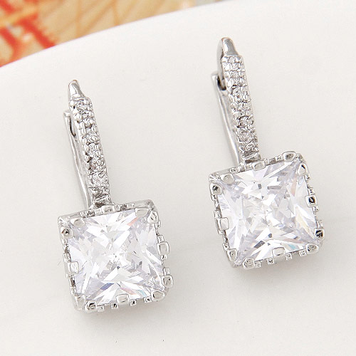 Brass Leverback Earring, Rectangle, platinum color plated, with cubic zirconia, lead & cadmium free, 20x9mm, Sold By Pair