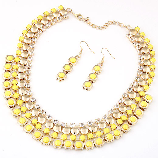 Resin Jewelry Sets, earring & necklace, Zinc Alloy, with Acrylic, gold color plated, yellow, lead & cadmium free, 400x28x10mm, Length:Approx 15.75 Inch, Sold By Set