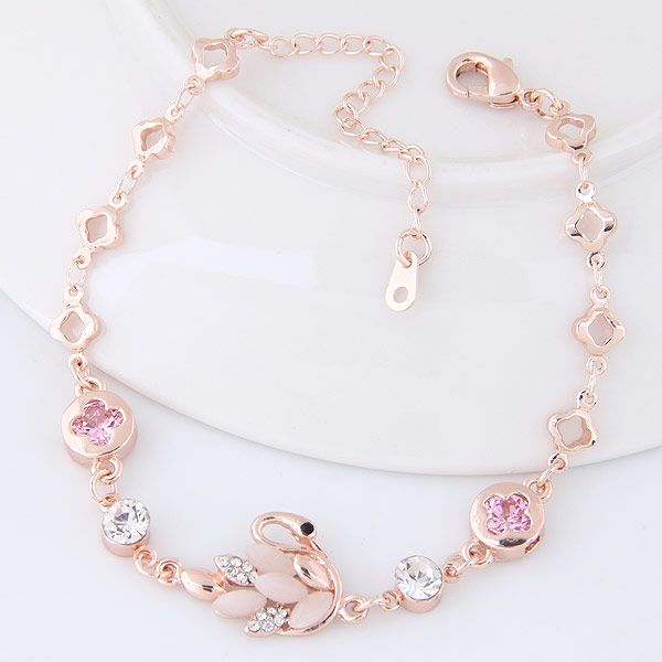 Zinc Alloy Bracelet with Cubic Zirconia   Cats Eye Swan rose gold color plated for woman lead   cadmium free 185x14mm Sold Per Approx 7.28 Inch Strand