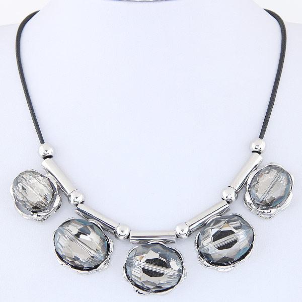 цинковый сплав Ожерелье, с Стеклянный, Плоская овальная форма, Платиновое покрытие платиновым цвет, граненый, не содержит свинец и кадмий, 420mm, Продан через Приблизительно 16.54 дюймовый Strand