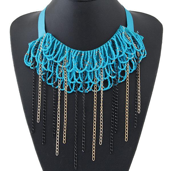 Сеть Тканые ожерелье, цинковый сплав, с гросгрейнская лента & Стеклянный бисер, Другое покрытие, не содержит свинец и кадмий, 450x150mm, длина:Приблизительно 17.72 дюймовый, продается PC