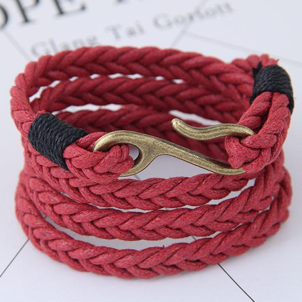 Моды создать воск шнур браслеты, Вощеная Конопля шнура, с цинковый сплав, Покрытие под бронзу старую, 4-стренги, красный, 380x40mm, Продан через 14.96 дюймовый Strand