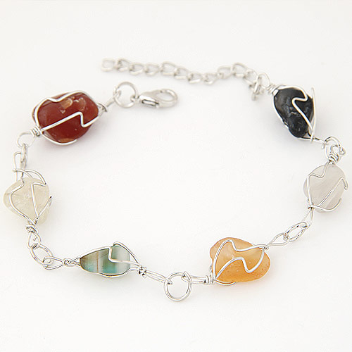 Zinc Alloy Bracelet with Resin platinum color plated imitation gemstone lead   cadmium free 200mm Sold Per Approx 7.87 Inch Strand