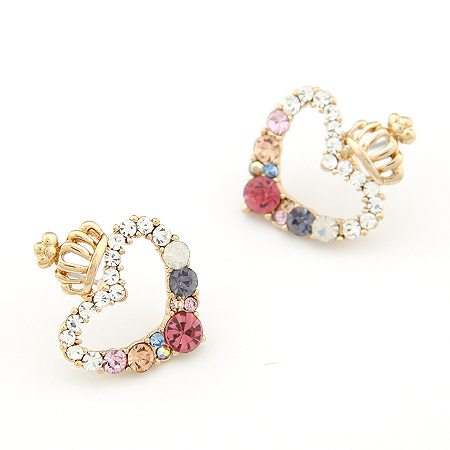 Rhinestone Earring, Zinc Alloy, with Czech Rhinestone, Crown, real gold plated, lead & cadmium free, 24x14mm, Sold By Pair