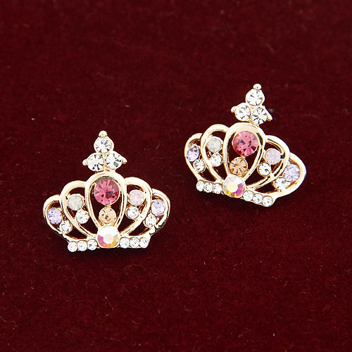 Rhinestone Earring, Zinc Alloy, gold color plated, with Czech rhinestone, lead & cadmium free, 17mm, Sold By Pair