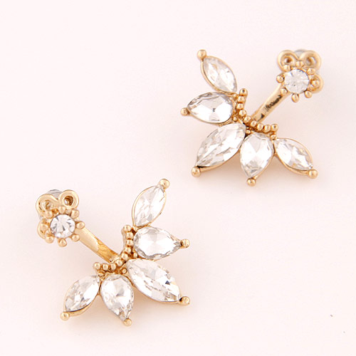 Zinc Alloy Split Earring, with Czech Rhinestone, Leaf, gold color plated, lead & cadmium free, 23*22mm, Sold By Pair