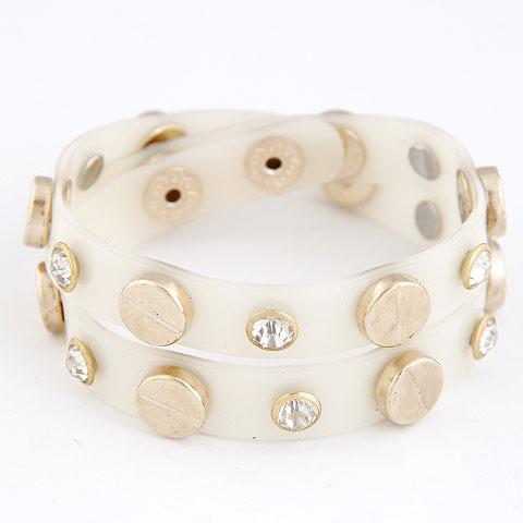 Пластиковые браслет, цинковый сплав, с Кристаллы & пластик, плакированный настоящим золотом, двунитевая, не содержит свинец и кадмий, 360x10mm, Продан через Приблизительно 14.17 дюймовый Strand