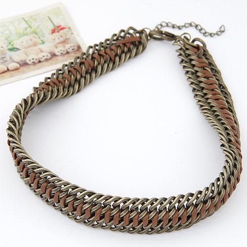 Сеть Тканые ожерелье, цинковый сплав, с Искусственная кожа, с 5cm наполнитель цепи, Покрытие под бронзу старую, не содержит свинец и кадмий, 400x22mm, Продан через Приблизительно 15.75 дюймовый Strand