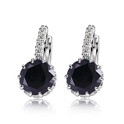 Brass Leverback Earring, Flat Round, platinum color plated, with cubic zirconia, black, nickel, lead & cadmium free, 21x9mm, Sold By Pair