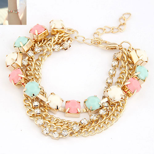 Buy Zinc Alloy Bracelet Resin gold color plated twist oval chain multi-colored lead & cadmium free 180x8mm Sold Per Approx 7.09 Inch Strand