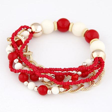 Акриловые браслеты, цинковый сплав, с Акрил, плакирован золотом, красный, не содержит свинец и кадмий, 170mm, Продан через Приблизительно 6.69 дюймовый Strand