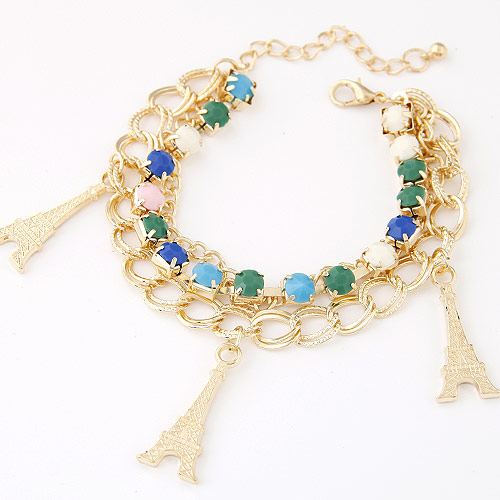 Zinc Alloy Bracelet with Resin with 5cm extender chain Eiffel Tower gold color plated charm bracelet   double link chain   3-strand lead   cadmium free 175mm Sold Per Approx 6.89 Inch Strand