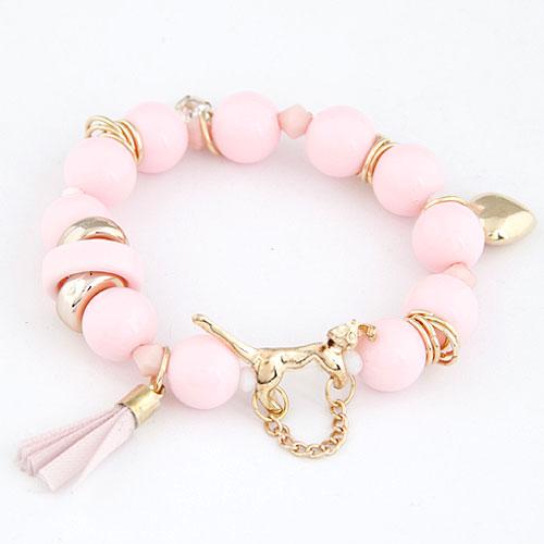Акриловые браслеты, цинковый сплав, с Акрил, плакирован золотом, браслет-оберег, розовый, не содержит свинец и кадмий, 175mm, Продан через Приблизительно 6.89 дюймовый Strand