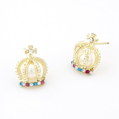 Rhinestone Earring, Zinc Alloy, with Glass Pearl & Rhinestone, Crown, real gold plated, lead & cadmium free, 17mm, Sold By Pair