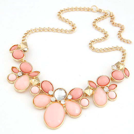Fashion Statement Necklace, Zinc Alloy, with Resin, Flower, gold color plated, twist oval chain, pink, lead & cadmium free, 400x200x40mm, Sold Per Approx 15.75 Inch Strand