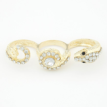 Zinc Alloy Three Finger Ring, with Rhinestone, Snake, gold color plated, 60x15mm, US Ring Size:6-9, Sold By PC