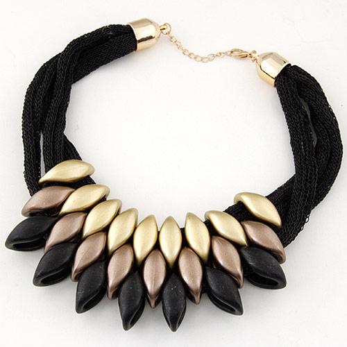 CCB Ожерелья, Пластик с медным покрытием, Лошадиный глаз, Другое покрытие, черный, 400mm, Продан через Приблизительно 15.5 дюймовый Strand