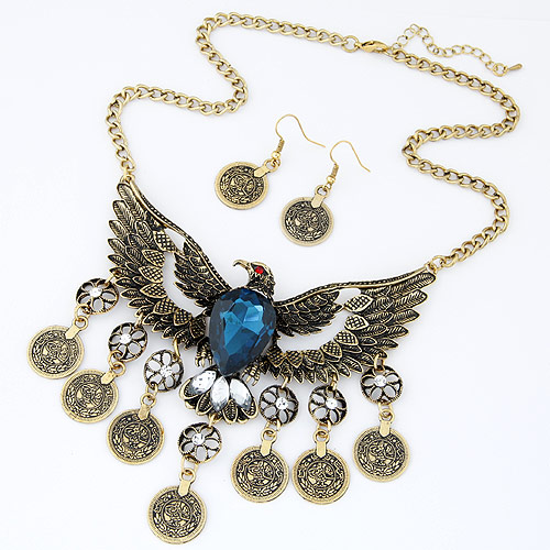 Vintage Coin Statement Jewelry Set earring   necklace Zinc Alloy with Glass   Rhinestone Eagle antique bronze color plated twist oval chain blue lead   cadmium free 106x76mm 40x18mm Length:Approx 15.75 Inch