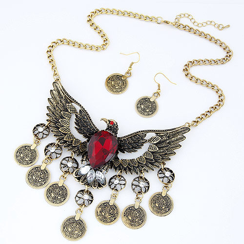 Vintage Coin Statement Jewelry Set earring   necklace Zinc Alloy with Glass   Rhinestone Eagle antique bronze color plated twist oval chain red lead   cadmium free 106x75mm 40x18mm Length:Approx 15.75 Inch