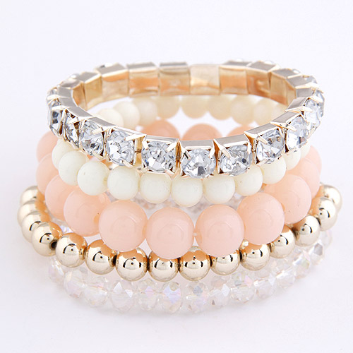 Zinc Alloy Bracelet Set with Crystal   Resin gold color plated 4-strand   with rhinestone lead   cadmium free 5-8mm Length:Approx 7.5 Inch