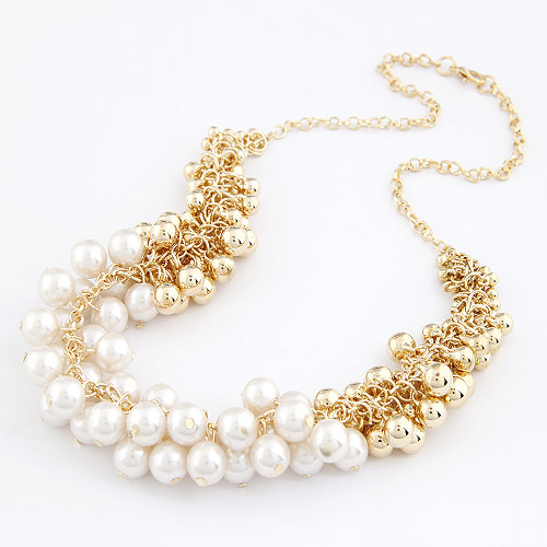 Plastic Pearl Necklace, Zinc Alloy, with ABS Plastic Pearl, gold color plated, oval chain, white, lead & cadmium free, 450mm, Sold Per Approx 17.72 Inch Strand