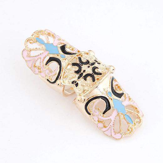 Кольца на весь палец, цинковый сплав, плакирован золотом, эмаль, не содержит свинец и кадмий, 60x20mm, размер:6-9, продается PC