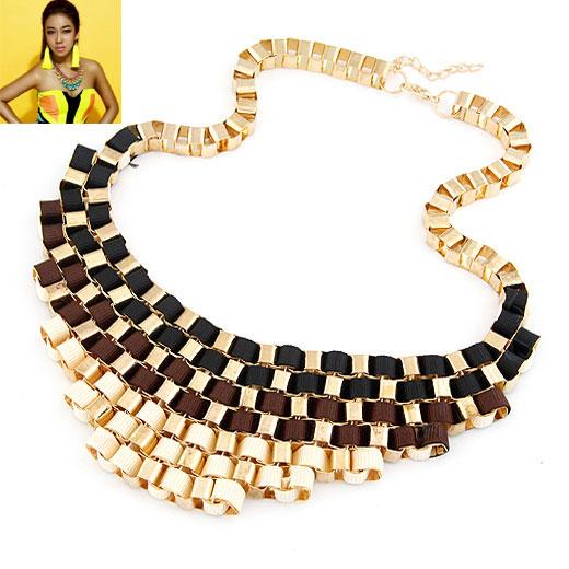 Сеть Тканые ожерелье, цинковый сплав, с Сатиновая лента, плакирован золотом, Цепной ящик, черный, не содержит свинец и кадмий, 200x55mm, Продан через Приблизительно 16.54 дюймовый Strand