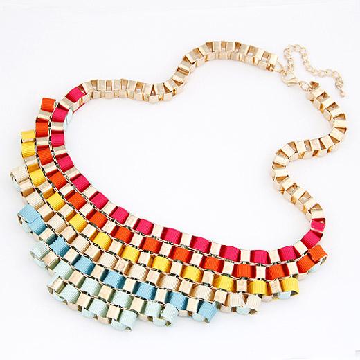 Сеть Тканые ожерелье, цинковый сплав, с Сатиновая лента, плакирован золотом, разноцветный, не содержит свинец и кадмий, 200x55mm, Продан через Приблизительно 16.54 дюймовый Strand