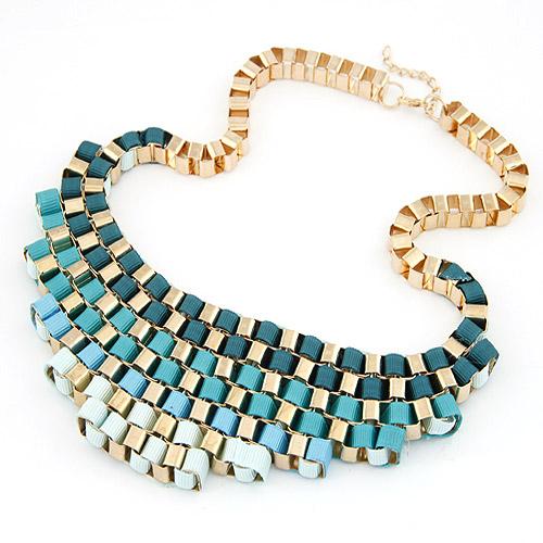 Сеть Тканые ожерелье, цинковый сплав, с гросгрейнская лента, плакирован золотом, небесно-голубой, не содержит свинец и кадмий, 200x55mm, Продан через Приблизительно 16.54 дюймовый Strand