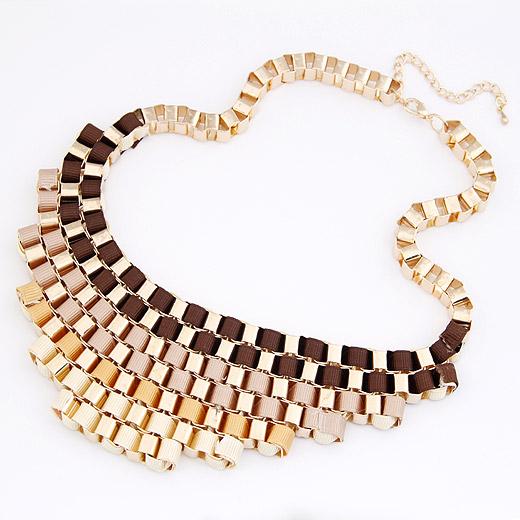Сеть Тканые ожерелье, цинковый сплав, с гросгрейнская лента, с 5cm наполнитель цепи, плакирован золотом, не содержит свинец и кадмий, 200x55mm, Продан через Приблизительно 16.54 дюймовый Strand