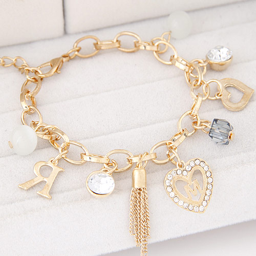 Zinc Alloy Bracelet with iron chain gold color plated charm bracelet   oval chain   with rhinestone lead   cadmium free 190mm Sold Per Approx 7.5 Inch Strand