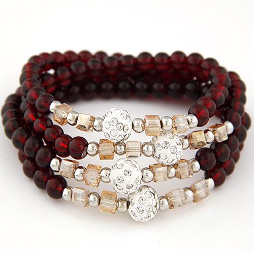 Стеклянные бусы многослойные браслеты, Стеклянный, с Кристаллы & цинковый сплав, 4-стренги & граненый & со стразами, темно-красный, 700x10mm, Продан через Приблизительно 27.56 дюймовый Strand
