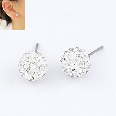 Rhinestone Earring, Clay Pave, Round, with rhinestone, white, lead & cadmium free, 10mm, Sold By Pair