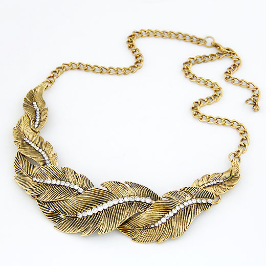 Zinc Alloy Jewelry Necklace, Feather, antique bronze color plated, twist oval chain, lead & cadmium free, 400x140x30mm, Sold Per 15.75 Inch Strand