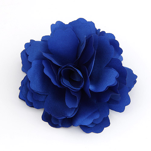 Цветок волос клип Брошь, цинковый сплав, с ткань, Форма цветка, голубой, не содержит свинец и кадмий, 72x72mm, продается PC