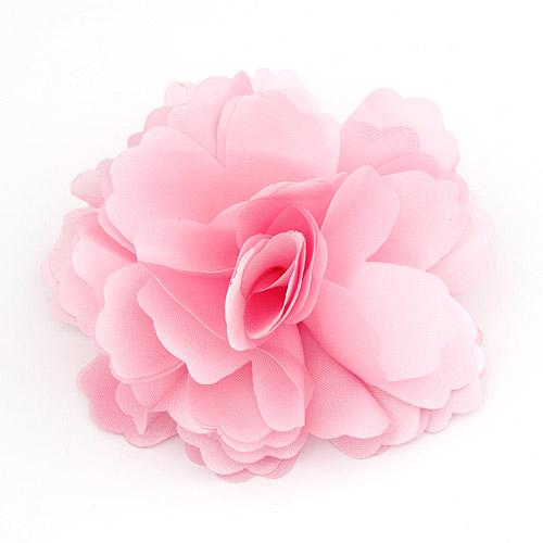 Цветок волос клип Брошь, цинковый сплав, с ткань, Форма цветка, Платиновое покрытие платиновым цвет, розовый, не содержит свинец и кадмий, 72x72mm, продается PC