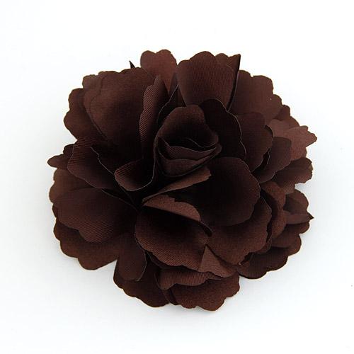 Цветок волос клип Брошь, цинковый сплав, с ткань, Форма цветка, коричневый, не содержит свинец и кадмий, 72x72mm, продается PC