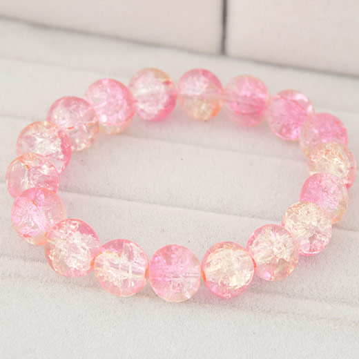 Glass Beads Bracelet, Round, crackle, pink, 10mm, Sold Per Approx 6 Inch Strand
