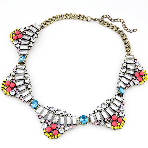 Resin Necklace, Zinc Alloy, with Resin, antique bronze color plated, twist oval chain, multi-colored, lead & cadmium free, 400x35mm, Sold Per Approx 15.75 Inch Strand
