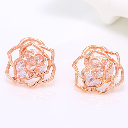 Cubic Zircon (CZ) Stud Earring, Brass, with Cubic Zirconia, Flower, real rose gold plated, lead & cadmium free, 13mm, Sold By Pair
