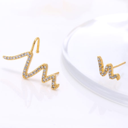 Asymmetric Earrings, Brass, Snake, gold color plated, with cubic zirconia, clear, nickel, lead & cadmium free, 25x10x7mm, Sold By Pair