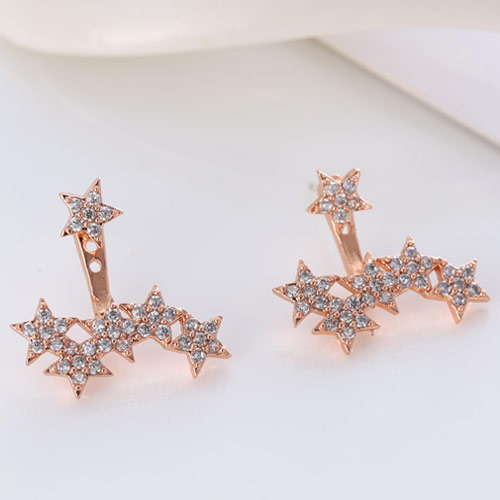 Brass Split Earring, Star, rose gold color plated, micro pave cubic zirconia, nickel, lead & cadmium free, 16.4mm, Sold By Pair