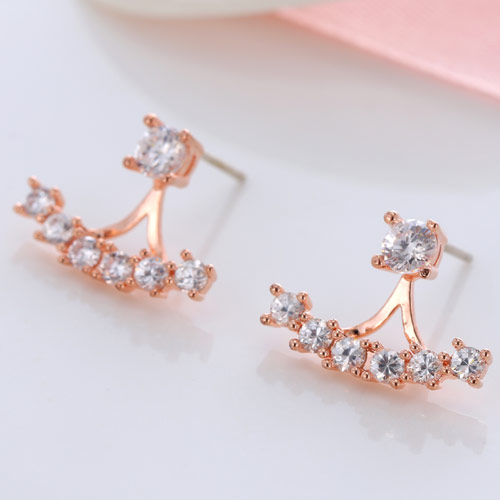 Brass Split Earring, Flower, rose gold color plated, with cubic zirconia, clear, nickel, lead & cadmium free, 17.3x13mm, Sold By Pair