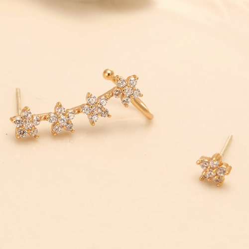 Asymmetric Earrings, Brass, Star, gold color plated, with cubic zirconia, clear, nickel, lead & cadmium free, 20x5mm, Sold By Pair