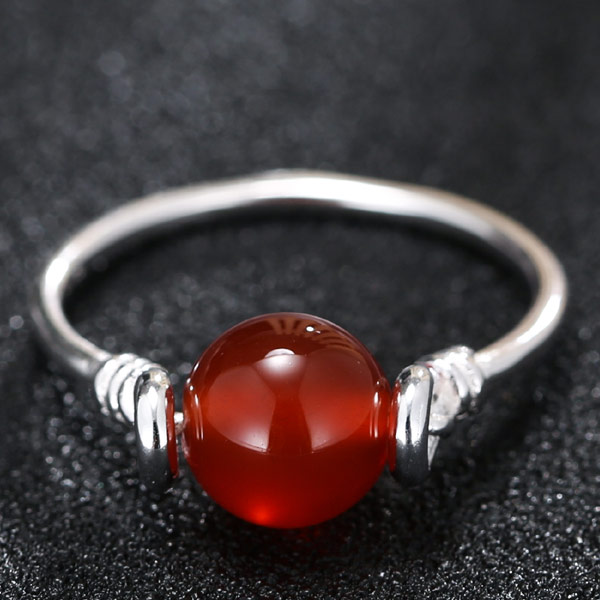 Agate Finger Ring Brass with Red Agate platinum plated natural lead   cadmium free 17mm US Ring Size:7