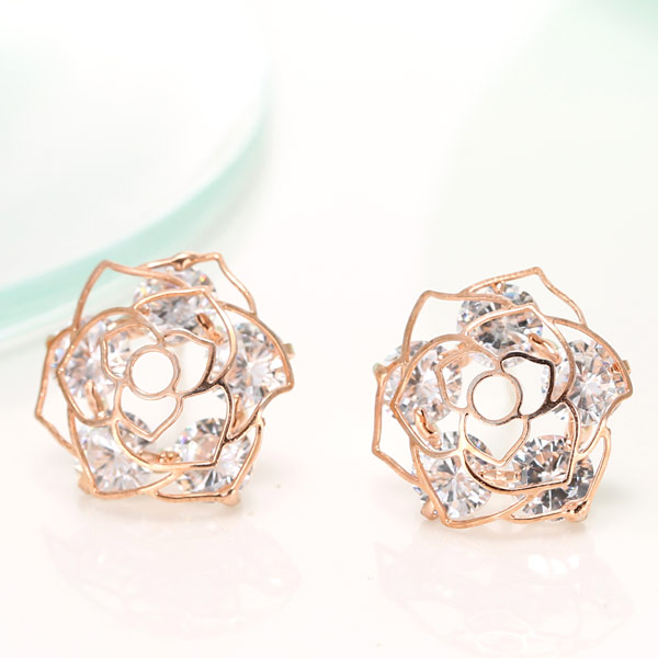 Cubic Zircon (CZ) Stud Earring, Brass, with Cubic Zirconia, Flower, real rose gold plated, 15mm, Sold By Pair