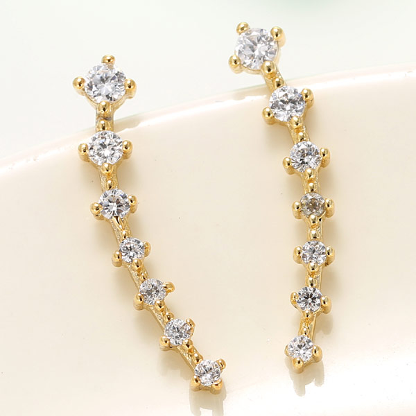 Cubic Zircon (CZ) Stud Earring, Brass, real gold plated, with cubic zirconia, lead & cadmium free, 22mm, Sold By Pair