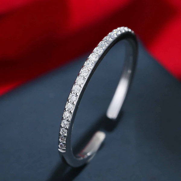 Кубический циркон микро проложить кольцо-латунь, Латунь, Кольцевая форма, покрытый платиной, инкрустированное микро кубического циркония, не содержит свинец и кадмий, 1-3mm, размер:6-8, продается PC