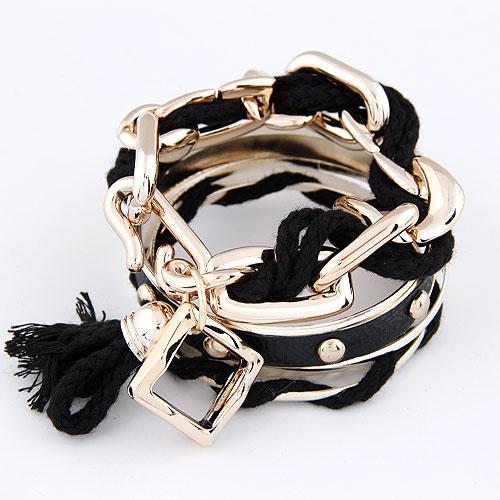 CCB Браслеты, Пластик с медным покрытием, с Нейлоновый шнурок, плакирован золотом, 70mm, внутренний диаметр:Приблизительно 60mm, длина:Приблизительно 7 дюймовый, продается PC