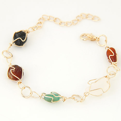 Zinc Alloy Bracelet, with Resin, with 5cm extender chain, gold color plated, lead & cadmium free, 170mm, Sold Per Approx 6.5 Inch Strand